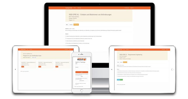 Die Spirit in Projects Webapp für Ihre IREB-Prüfungsvorbereitung ist für alle Endgeräte optimiert.